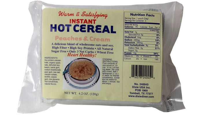 Peaches & Cream Instant Hot Cereal 5 pack by Dixie Carb Counters