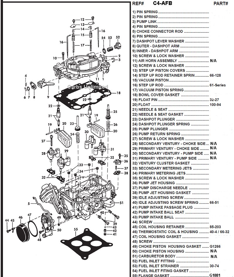 carter afb 4 barrel carburetor diagram
