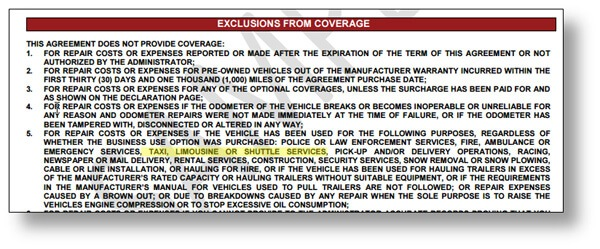 Exclusionary Vehicle Service Contracts Designed for - inducedinfo