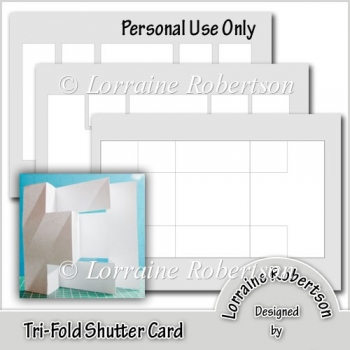 Tri-Fold Shutter Card Template - £120  Instant Card Making Downloads