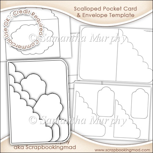 Scalloped Pocket Card  Envelope Template Commercial Use - £350