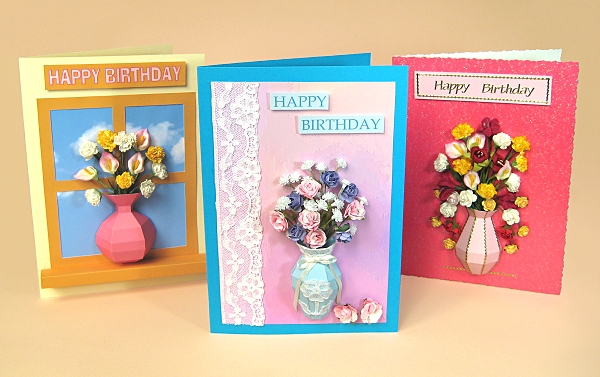 Card Making Templates for 3D Vase Greeting Card Embellishments by