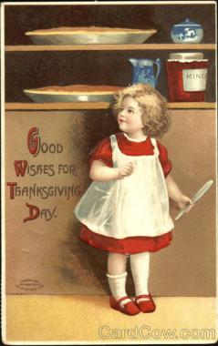 Good Wishes For Thanksgiving Day Old Postcard