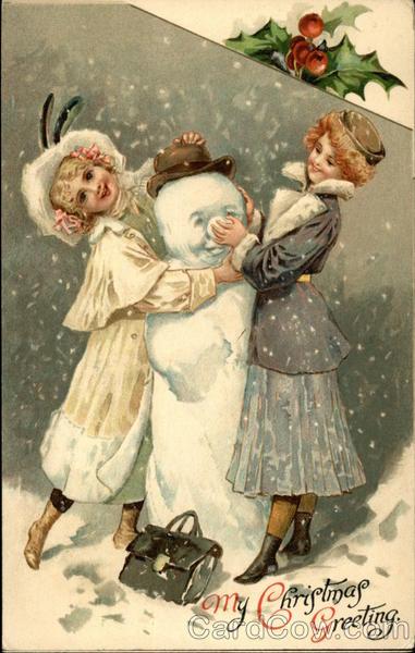 3d Wallpaper Girl And Boy My Christmas Greeting Snowmen