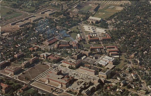 Purdue University Campus - Aerial View Lafayette, IN Postcard