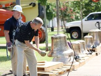 Over the summer, 49 bronze bells were installed in Miller Tower | photo submitted by Union University