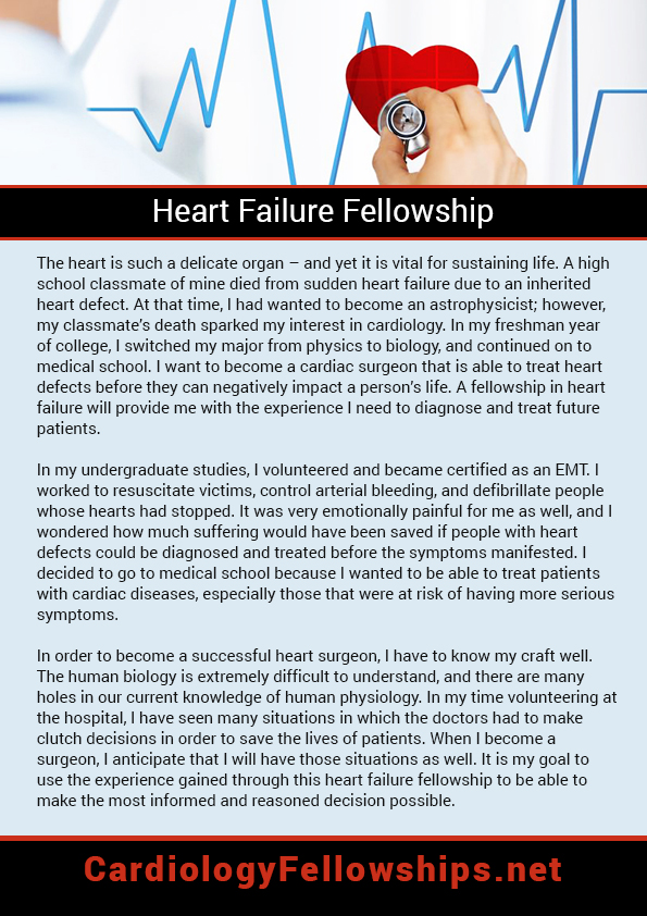 Heart failure fellowship personal statement sample which can help - cv format example
