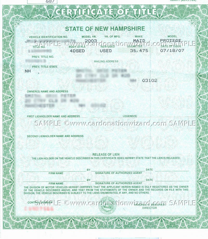 New Hampshire Title Transfer - Donate a car in NH on Car Donation Wizard - title picture