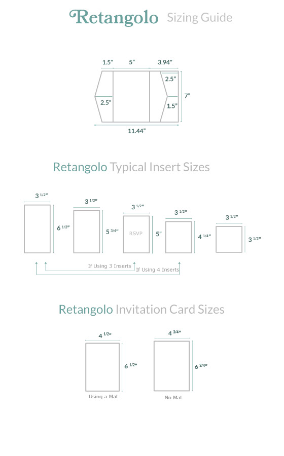 Invitation Size Guide Retangolo Pocket - Cards  Pockets