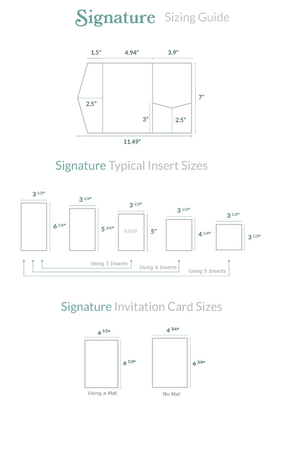 Invitation Size Guide Signature Pocket - Cards  Pockets