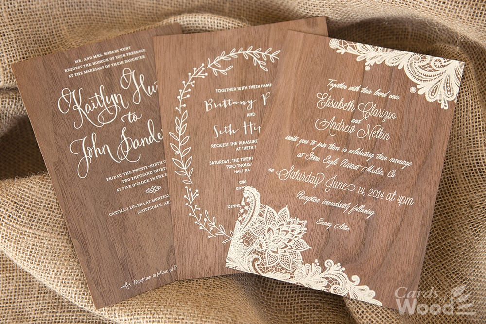 Wood Wedding Invitations Business Cards Cards Of Wood