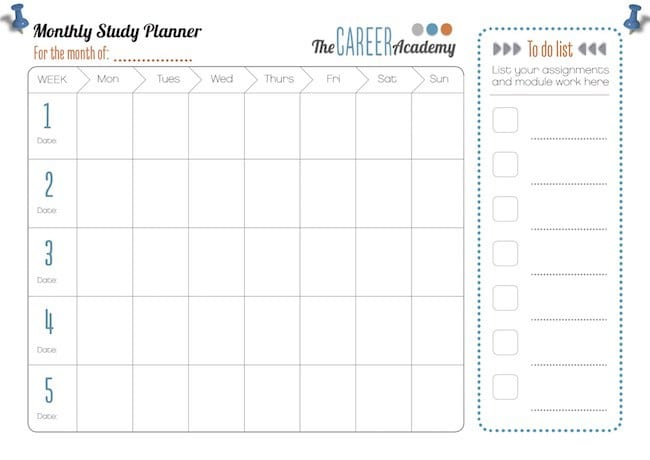Study planner - Career Academy Industry recognised online courses - study timetable