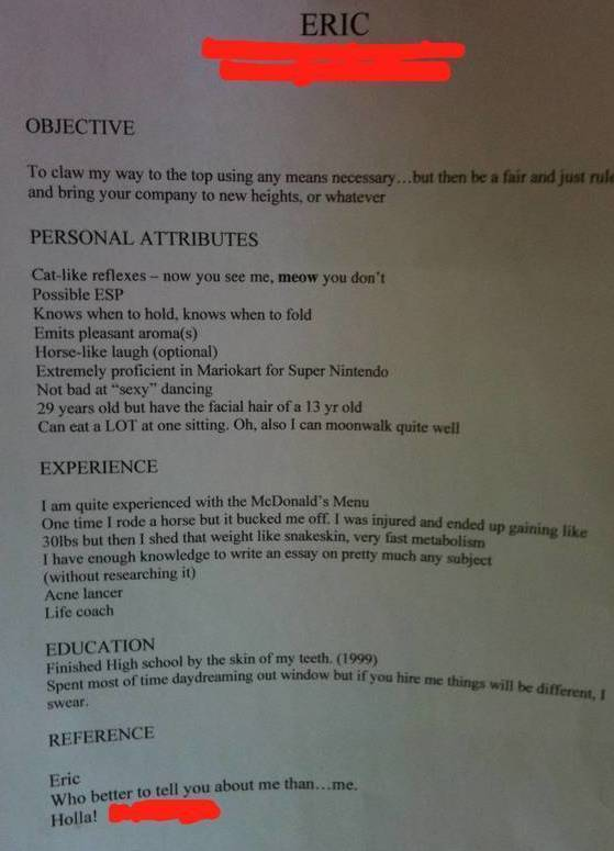 20 of the Funniest Resumes and CVs Youu0027ll Ever See - cvs resume paper