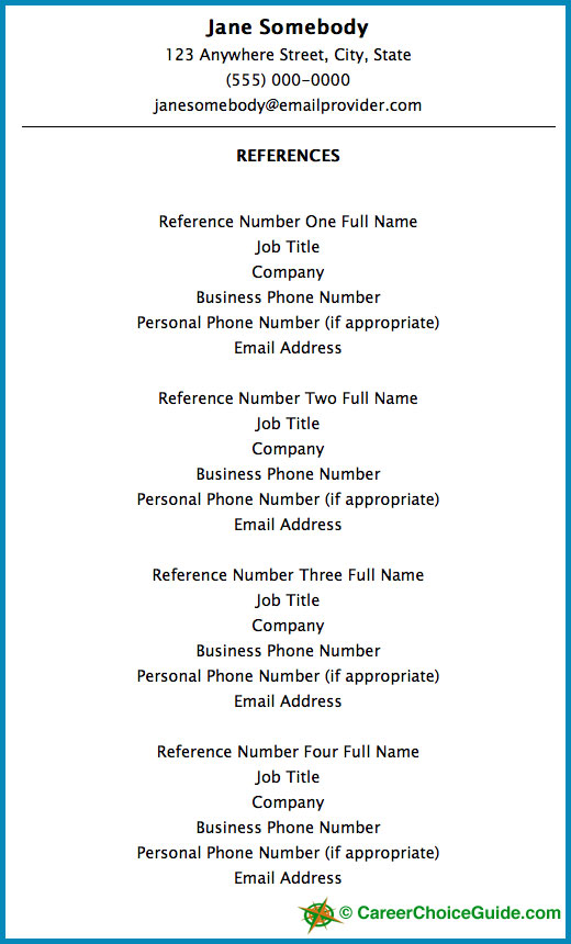 Resume Reference Page Setup - sample resume reference page