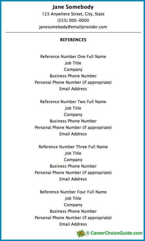 Resume Reference Page Setup