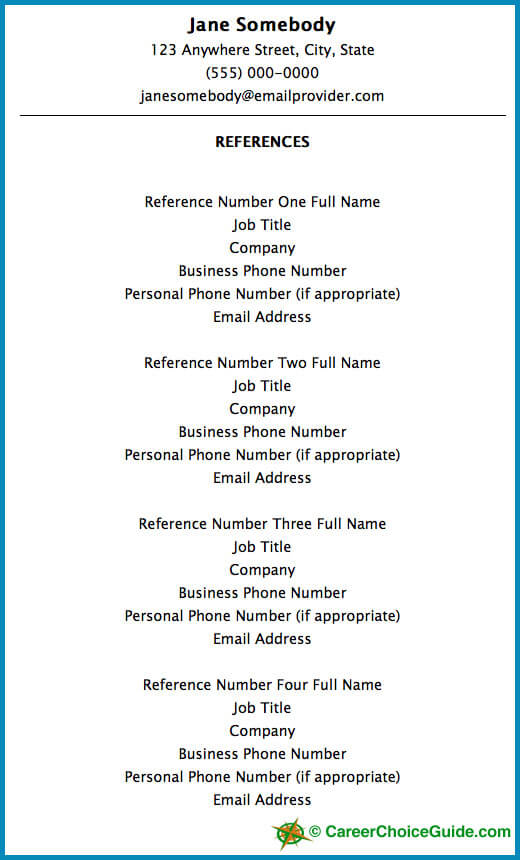 Resume Reference Page Setup - Resume Reference List