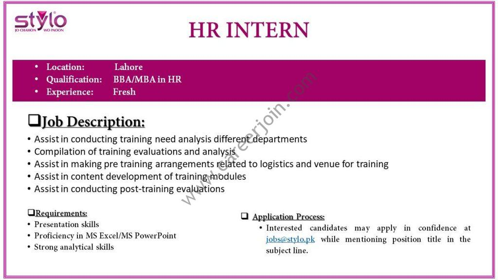 Stylo Pvt Ltd HR Internship February 2019