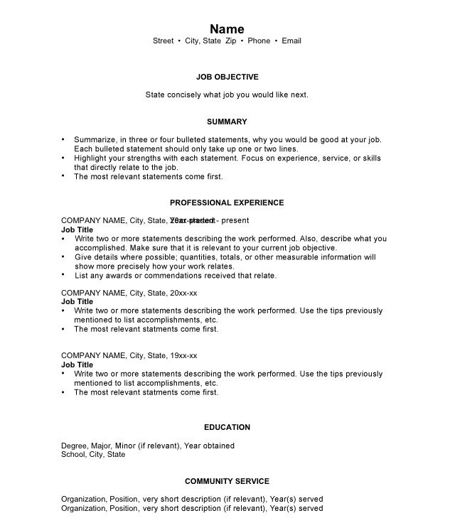 Chronological Resumes Sample Templates and Examples - resume current education