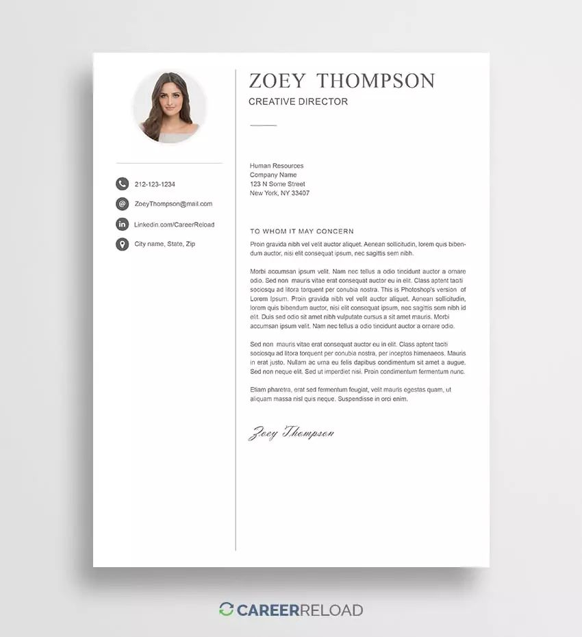 free creative cover letter templates