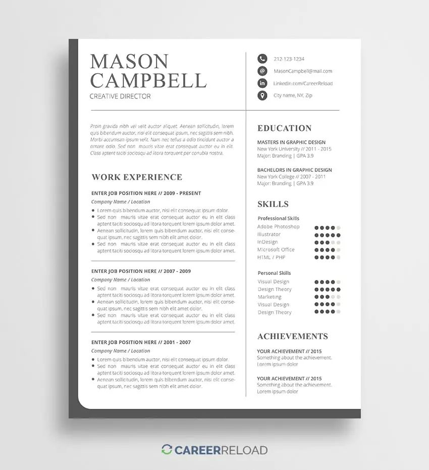 resume 2017 templates free download