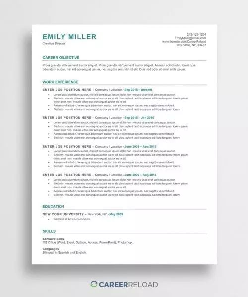 free ats resume template emily