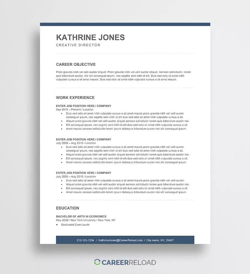 resume for new job seekers