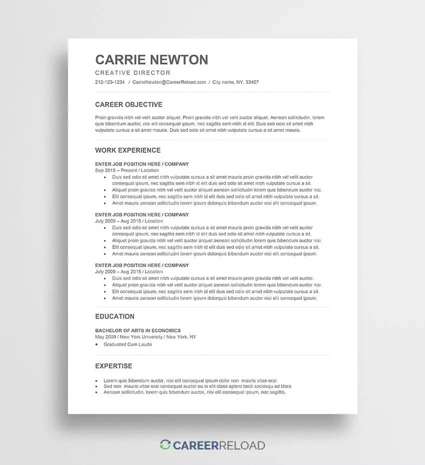 resume and cover letter matching templates