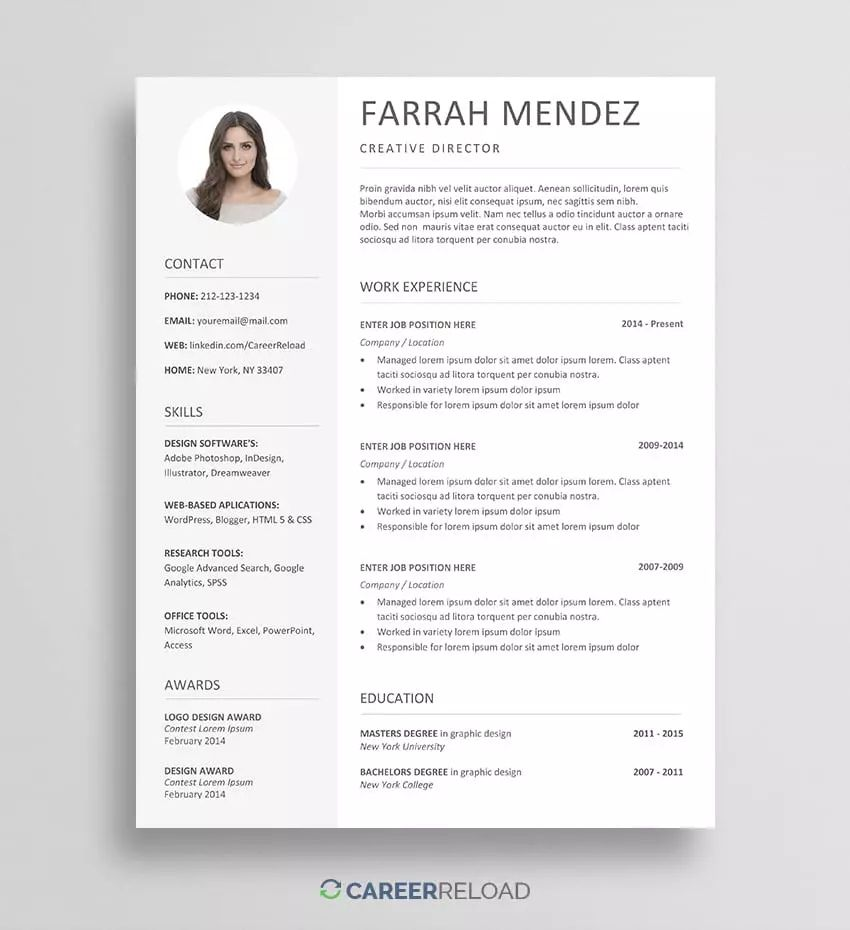 free resume template downloads docs