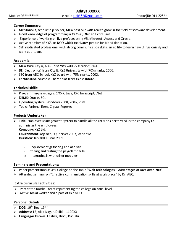 sample resume preparation for freshers