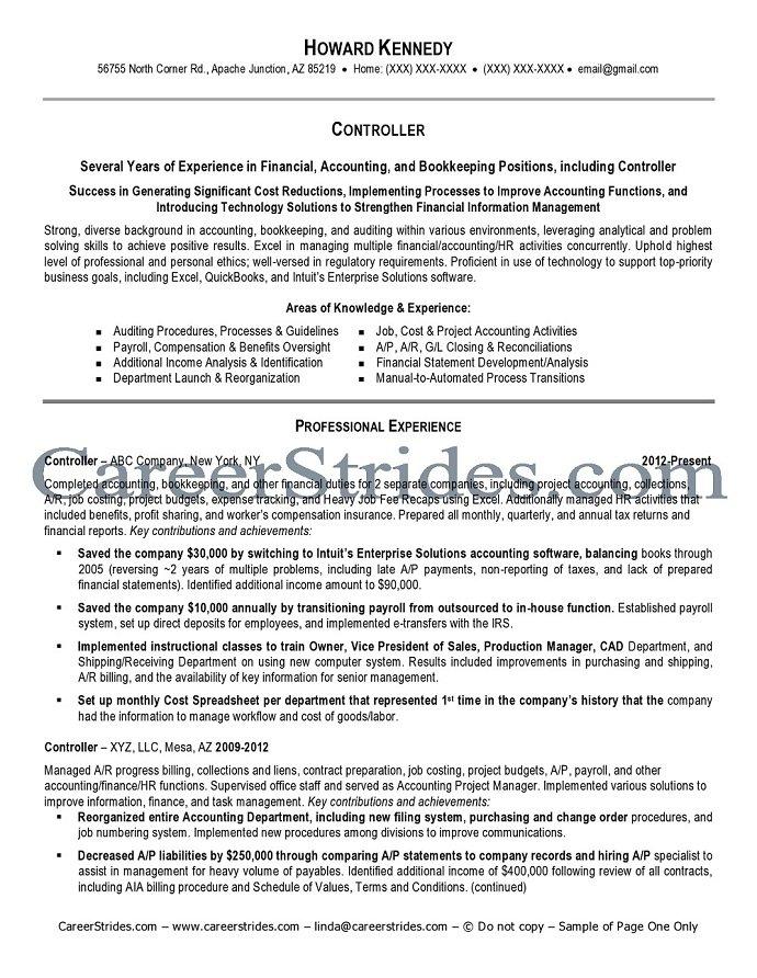 financial controller cv sample job description resume cv writing ...
