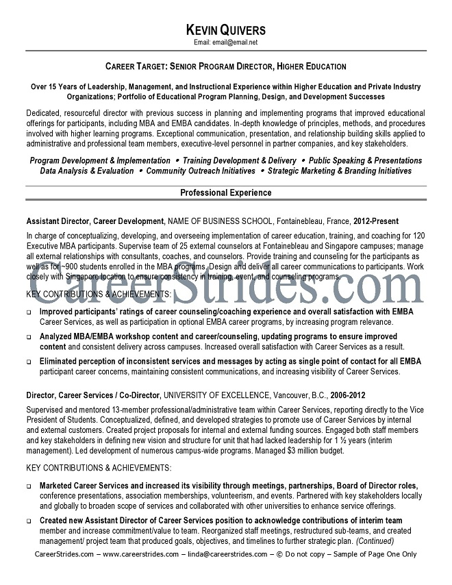 resume objective higher education payment made letter