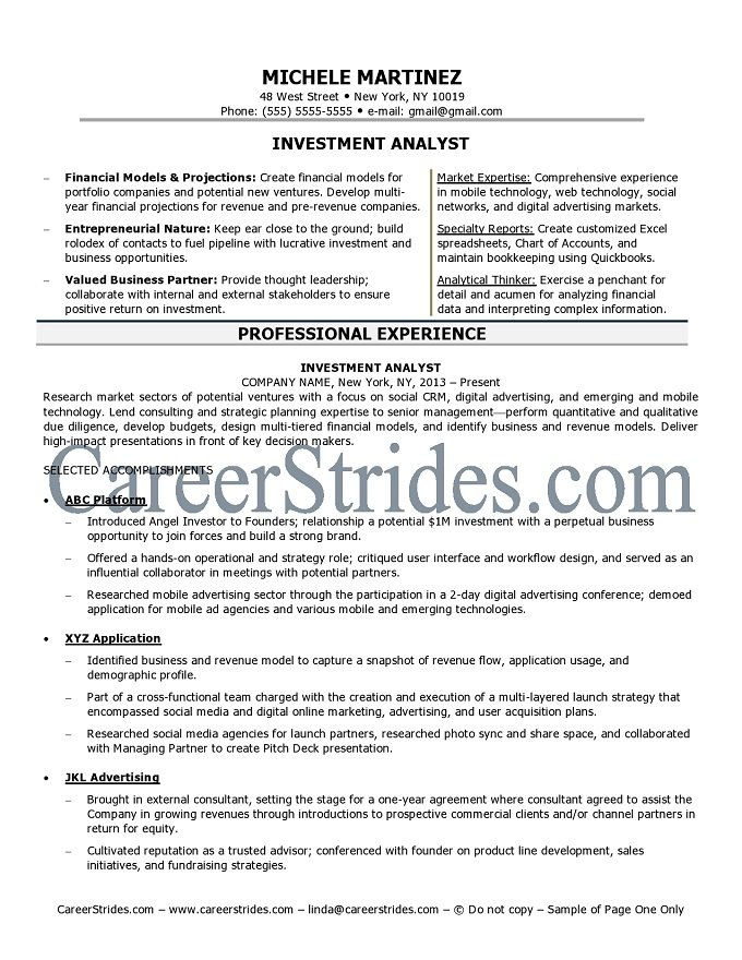 Investment Analyst Resume - Unitedijawstates - distribution analyst sample resume