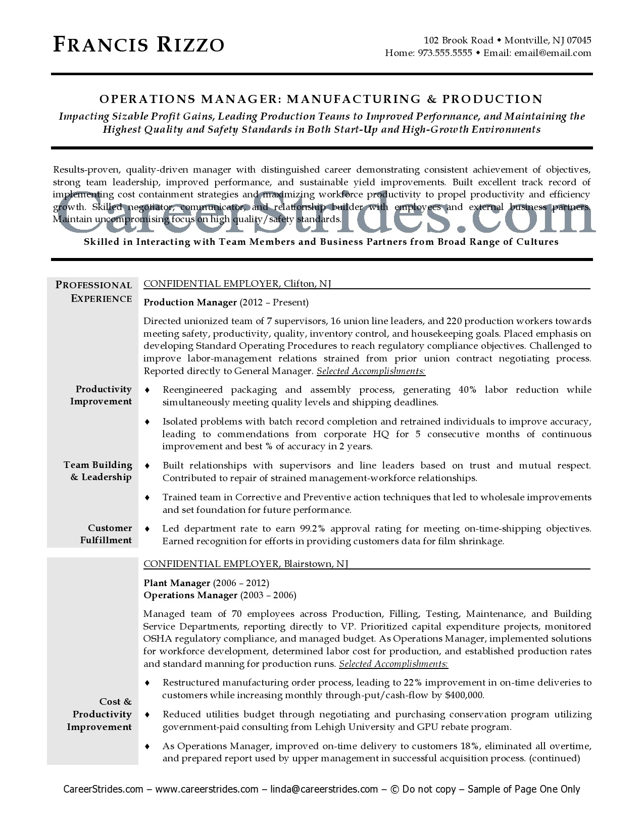 it operations manager resume 29042017