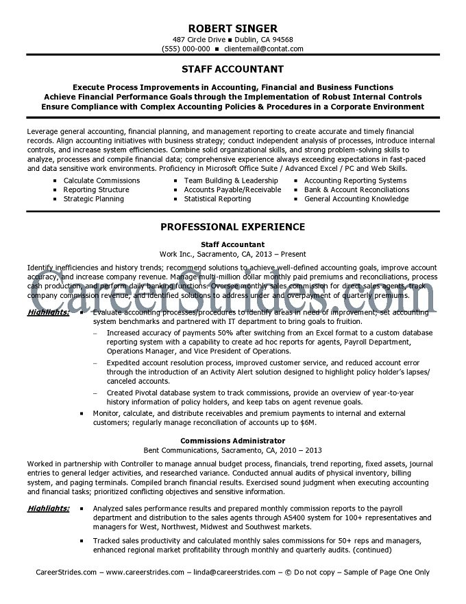Staff Accountant Objective In Resume   Application Letter ...