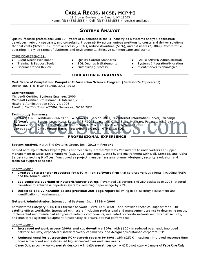 A Very Good Resume Example – Sample Resume for System Analyst