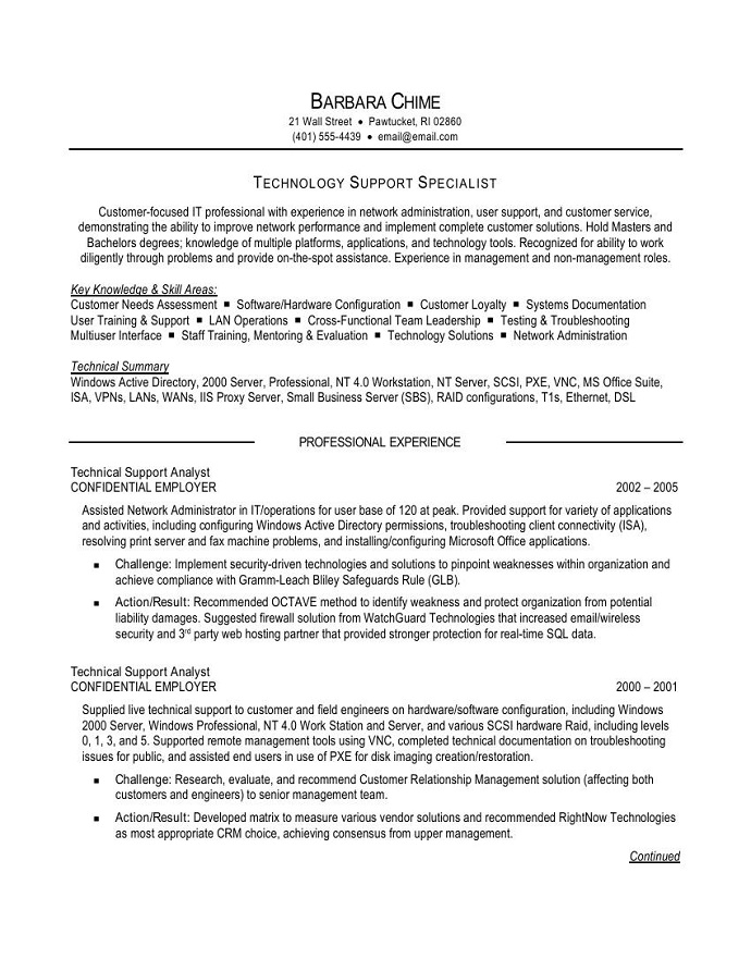 Customer technical support resume
