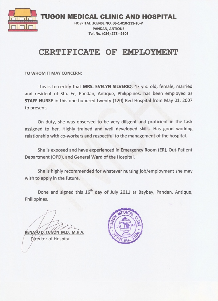 sample of certification of employment – Employee Certificate Sample