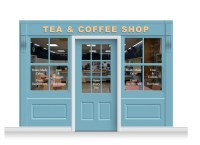 3-Drop Leamington Shop Front 'Tea & Coffee Shop' Mural ...