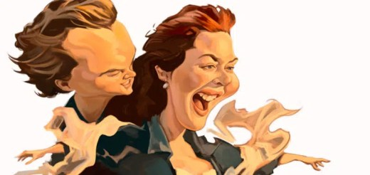 caricatura de pareja titanic