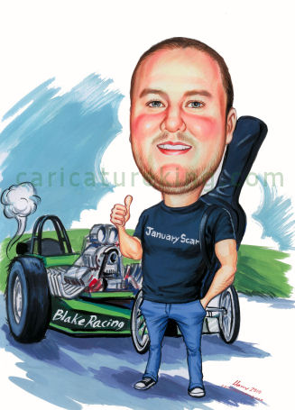drag racer caricature