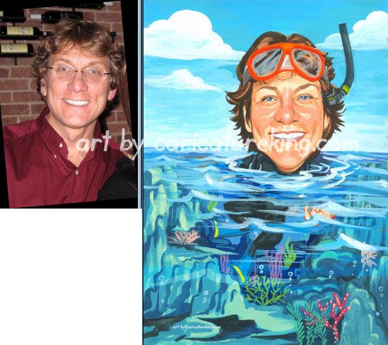 caricature of scuba diver