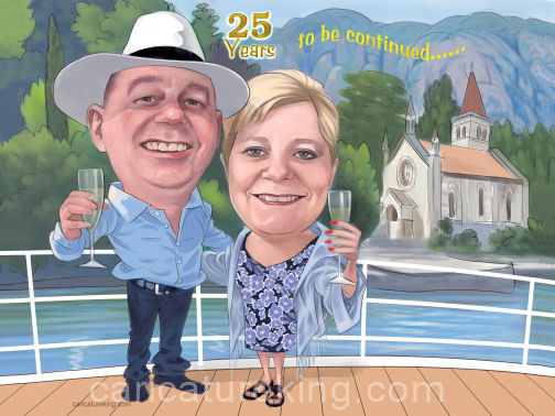 wedding vow renewal caricature