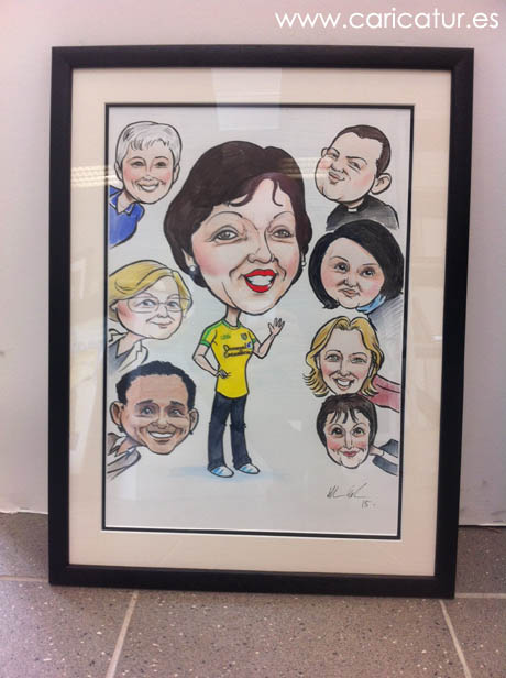 Retirement caricature woman in Donegal GAA jersey by Allan Cavanagh Caricatures Ireland