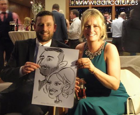 Couple with wedding caricature by Allan Cavanagh