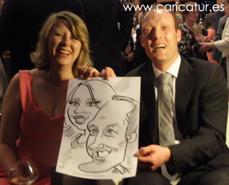 Guests in Lough Rynn after being drawn by Allan Cavanagh wedding cartoonist
