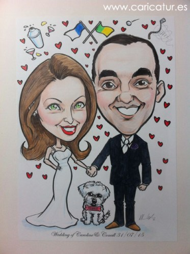 caricature of couple on their wedding day by Allan Cavanagh