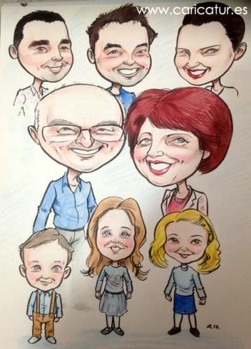 A caricature of grandparents, their children, and grandchildren, by Allan Cavanagh Caricatures Ireland