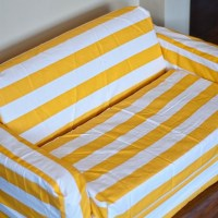 DIY Striped Slipcover for Kids Flip Sofa