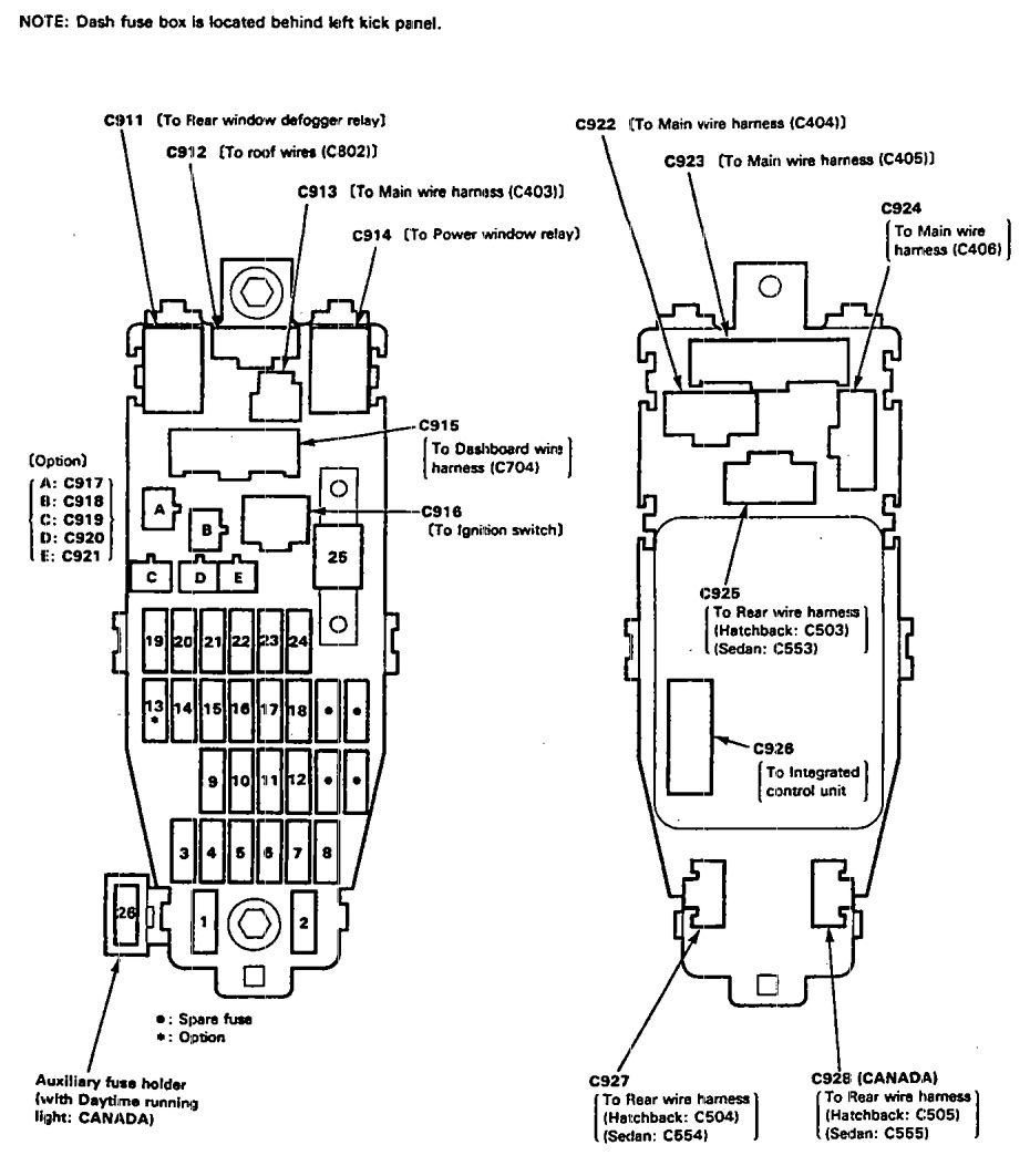 1991 acura integra interior fuse box diagram
