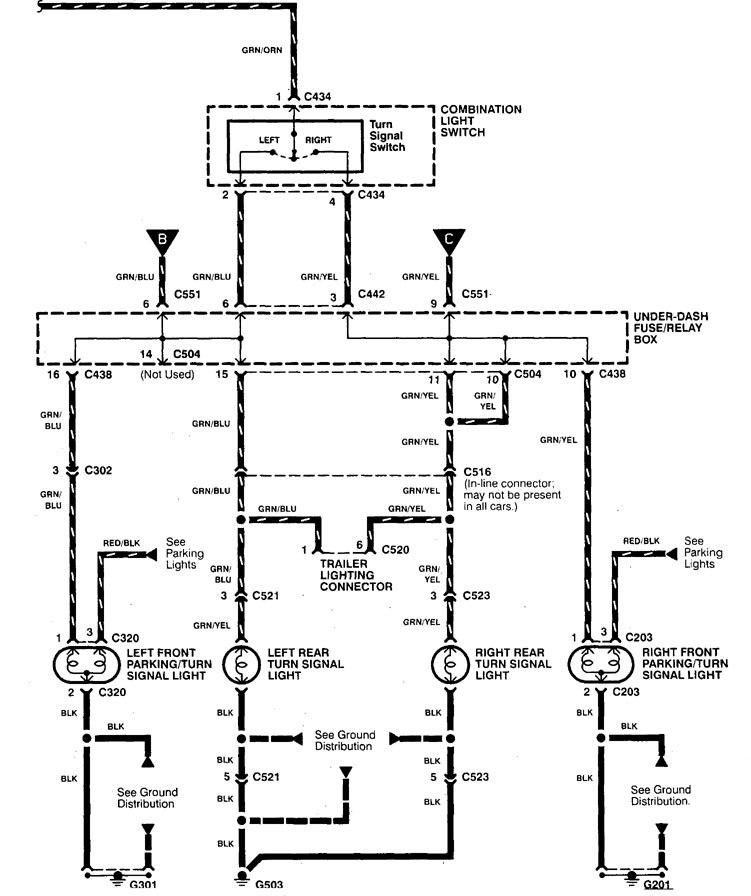 Acura Integra (1998 - 2001) - wiring diagrams - turn signal lamp